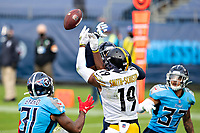 NASHVILLE, TN - OCTOBER 25:  JuJu Smith-Schuster #19 of the Pittsburgh Steelers has a pass broken up in the end zone that is intercepted by Amani Hooker #37 of the Tennessee Titans at Nissan Stadium on October 25, 2020 in Nashville, Tennessee.  The Steelers defeated the Titans 27-24.  (Photo by Wesley Hitt/Getty Images) *** Local Caption *** JuJu Smith-Schuster; Amani Hooker