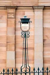 Detail of ornate street light outside Scottish National Gallery on The mound in Edinburgh, Scotland United Kingdom