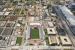 Aerial view of BBVA Stadium in Houston,Texas where the Houston Dynamo soccer team plays.