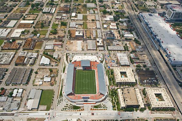 Aerial view of BBVA Stadium in Houston,Texas where the Houston Dynamo soccer team plays.