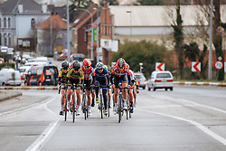 Sofie de Vuyst sets the pace in the lead group as the peloton splits into pieces on the climbs - Dwars door Vlaanderen 2016, a 103km road race from Tielt to Waregem, on March 23rd, 2016 in Flanders, Netherlands.