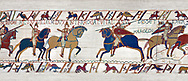 11th Century Medieval Bayeux Tapestry - Scene 49 - William is told that the Saxon army is close. Battle of Hastings 1066. .<br /> <br /> If you prefer you can also buy from our ALAMY PHOTO LIBRARY  Collection visit : https://www.alamy.com/portfolio/paul-williams-funkystock/bayeux-tapestry-medieval-art.html  if you know the scene number you want enter BXY followed bt the scene no into the SEARCH WITHIN GALLERY box  i.e BYX 22 for scene 22)<br /> <br />  Visit our MEDIEVAL ART PHOTO COLLECTIONS for more   photos  to download or buy as prints https://funkystock.photoshelter.com/gallery-collection/Medieval-Middle-Ages-Art-Artefacts-Antiquities-Pictures-Images-of/C0000YpKXiAHnG2k