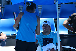 January 13, 2019 - Melbourne, AUSTRALIA - Lucas Pouille (Fra) with Amelie Mauresmo (Credit Image: © Panoramic via ZUMA Press)