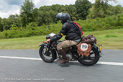 Ryan Allen riding his 1929 Indian 101 Scout during Ryan Allen riding his 1929 Indian 101 Scout during Stage 1 of the Motorcycle Cannonball Cross-Country Endurance Run, which on this day ran from Daytona Beach to Lake City, FL., USA. Friday, September 5, 2014.  Photography ©2014 Michael Lichter.