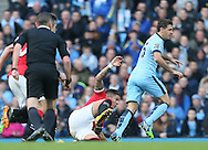 Marcos Rojo of Manchester United immediately calls for help following an injury to his shoulder which forced him to leave the game injured - Barclays Premier League - Manchester City vs Manchester Utd - Etihad Stadium - Manchester - England - 2nd November 2014  - Picture David Klein/Sportimage
