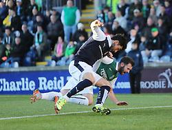 Hibernian's James Keating pulls Raith Rovers Rory McKeown. <br /> Raith Rovers 1 v 2 Hibernian, Scottish Championship game played 24/10/2015 at Starks Park.