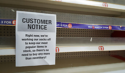 © Licensed to London News Pictures. 16/03/2020. London, UK. Notice in Poundland in north London as panic-buying continues. 35 coronavirus victims have died and 1,372 cases have tested positive of the virus in the UK. Photo credit: Dinendra Haria/LNP