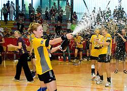 Spela Cerar with a champaign at the Final handball game of the Slovenian Women handball Championship between RK Krim Mercator and RK Olimpija when Krim Mercator won the Championship and became Slovenian National Champion, on May 23, 2009, Kodeljevo, Ljubljana, Slovenia.  (Photo by Klemen Kek / Sportida)