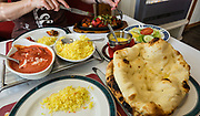 Indian restaurant food in Oban, Scotland, United Kingdom, Europe. Oban is an important tourism hub and Caledonian MacBrayne (Calmac) ferry port, protected by the island of Kerrera and Isle of Mull, in the Firth of Lorn, Scotland, United Kingdom, Europe.