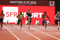 February 7, 2018 - Paris, Ile-de-France, France - From left to right : Marvin Rene of France, Sean Safo Antwi of Gana, Christophe Lemaitre of France, Gue-arthur Cisse of Ivory Coast, Kyle De Escofet of Great Britain compete in 60m during the Athletics Indoor Meeting of Paris 2018, at AccorHotels Arena (Bercy) in Paris, France on February 7, 2018. (Credit Image: © Michel Stoupak/NurPhoto via ZUMA Press)