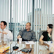 Paul Quirk, centre, with colleagues in a  marketing meeting at TD waterhouse, Leeds. There is much debate about the efficiency of meetings and the amount of time wasted. 