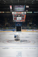 KELOWNA, CANADA - OCTOBER 25: The Kelowna Rockets ice crew resurfaces the ice after warm up against Brandon Wheat Kings on October 25, 2014 at Prospera Place in Kelowna, British Columbia, Canada.  (Photo by Marissa Baecker/Shoot the Breeze)  *** Local Caption *** Ice; ice resurface; arena;