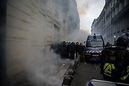 Police blocked the strees crossing the Camps Elysee. More than 125000 gathered in Paris for the Gilets Jaune (Yellow vest) protest. Soon the protest turned violent an protesters clashed with the police, tear gas and flash bombs were fired, many injured and arrested by the police. Paris December 6th 2018. Federico Scoppa