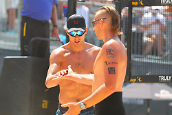 June 9, 2018 - New York, NY, U.S. - NEW YORK, NY - JUNE 09:  Stafford Slick and Casey Patterson  during play on the Stadium Court of the AVP New York Coty Open on June 9, 2018, at Hudson River Park's Pier 25/26, New York, NY.  (Photo by Rich Graessle/Icon Sportswire) (Credit Image: © Rich Graessle/Icon SMI via ZUMA Press)