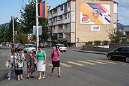 Stepanakert, Nagorno-Karabakh - September 22, 2016: Pedestrians in Stepanakert, capital of the disputed region of Nagorno Karabakh, locally known as the Republic of Artsakh.