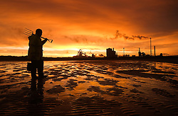 © Licensed to London News Pictures. <br /> 07/01/2015. <br /> <br /> South Gare, Teesside<br /> <br /> Gordon Brudenell from Middlesbrough collects bait for fishing as a beautiful morning light spreads out over the steel works at South Gare at Teesside and reflects off the wet sand at low tide.<br /> <br /> Photo credit : Ian Forsyth/LNP