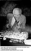Arthur Miller celebrating his 70th birthday at the New York Public Library. 1995. Film 95412f33<br />© Copyright Photograph by Dafydd Jones<br />66 Stockwell Park Rd. London SW9 0DA<br />Tel 0171 733 0108