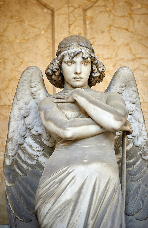 Picture and image of the stone sculpture of an enigmatic angels face in a realistic style. One of the best know csulptures of Staglieno. The Oneto family tomb sculpted by G Monteverde. Section D no 13, the monumental tombs of the Staglieno Monumental Cemetery, Genoa, Italy .<br /> <br /> Visit our ITALY PHOTO COLLECTION for more   photos of Italy to download or buy as prints https://funkystock.photoshelter.com/gallery-collection/2b-Pictures-Images-of-Italy-Photos-of-Italian-Historic-Landmark-Sites/C0000qxA2zGFjd_k<br /> If you prefer to buy from our ALAMY PHOTO LIBRARY  Collection visit : https://www.alamy.com/portfolio/paul-williams-funkystock/camposanto-di-staglieno-cemetery-genoa.html