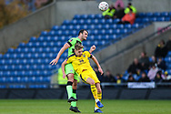 Forest Green Rovers Farrend Rawson(6) heads the ball clear  during the The FA Cup 1st round match between Oxford United and Forest Green Rovers at the Kassam Stadium, Oxford, England on 10 November 2018.