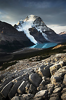 Mount Robson, highest mountain in the Canadian Rockies, elevation 3,954 m (12,972 ft), seen from Mumm Basin, Mount Robson Provincial Park British Columbia