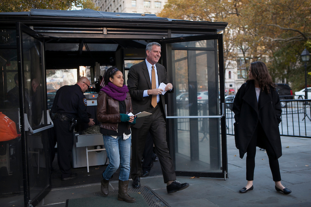 Bill de Blasio arrives to rally at City Hall with group Latinos for De Blasio in New York, NY on Sunday, Nov. 3, 2013.<br /> <br /> CREDIT: Andrew Hinderaker for The Wall Street Journal<br /> SLUG: NYMAYOR