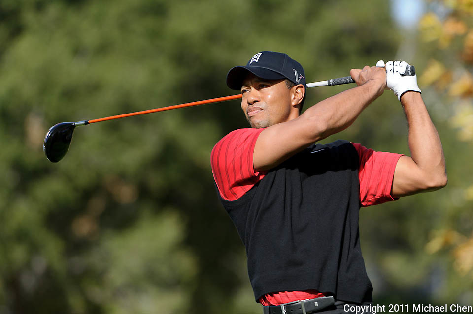 Tiger Woods tees off on hole 5 during Round 4 of the 2011 Chevron World Challenge at the Sherwood Country Club in Thousand Oaks, Calif., on Sunday, Dec. 4, 2011.