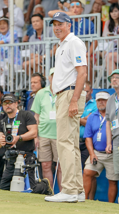 January 13, 2019 - Honolulu, HI, U.S. - HONOLULU, HI - JANUARY 13: Matt Kuchar reacts after hitting is first putt on the 18th green during the final round of the Sony Open at the Waialae Country Club in Honolulu, HI. (Photo by Darryl Oumi/Icon Sportswire) (Credit Image: © Darryl Oumi/Icon SMI via ZUMA Press)