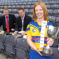 4 September 2007; Clare captain Deirdre Murphy, from Clooney, with Clare manager Colm Hanley, from Shannon, and Gary Desmond, CEO of Gala Retail Services, at a photocall ahead of the Gala All-Ireland Senior and Junior Camogie Championship Finals, which will be taking place on Sunday the 9th September 2007. Croke Park, Dublin. Picture credit:  Brian Lawless / SPORTSFILE *** NO REPRODUCTION FEE ***