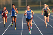 Sierra Pruitt of Edna wins the 100-meter dash during track competition in Altair on Thursday.Photo:Jaime R. Carrero/jcarrero@vicad.com