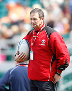 Photo by Andrew Tobin/Tobinators Ltd. One of the Canadian coaching team looks on during the IRB London Rugby 7s tournament held at Twickenham Stadium, London on 12th May 2013. New Zealand won the tournament beating Australia in the final, and also won the overall 2012/13 series.