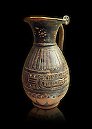 580 - 560 B.C olpai style jug made by the Etrusco-Corinthian Group of Palmette Fenicie, inv 71019,   National Archaeological Museum Florence, Italy , black background .<br /> <br /> If you prefer to buy from our ALAMY PHOTO LIBRARY  Collection visit : https://www.alamy.com/portfolio/paul-williams-funkystock - Scroll down and type - Etruscan Florence - into LOWER search box. (TIP - Refine search by adding a background colour as well).<br /> <br /> Visit our ETRUSCAN PHOTO COLLECTIONS for more photos to download or buy as wall art prints https://funkystock.photoshelter.com/gallery-collection/Pictures-Images-of-Etruscan-Historic-Sites-Art-Artefacts-Antiquities/C0000GgxRXWVMLyc