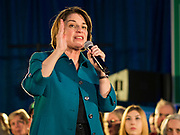 01 FEBRUARY 2020 - DES MOINES, IOWA: US Senator AMY KLOBUCHAR (D-MN) talks to a crowd of about 700 people during a campaign event in Des Moines. Sen. Klobuchar campaigned to support her candidacy for the US Presidency Saturday in Iowa. She is trying to capitalize on her recent uptick in national polls. Iowa holds the first selection event of the presidential election cycle. The Iowa Caucuses are Feb. 3, 2020.              PHOTO BY JACK KURTZ
