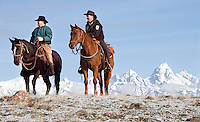 NEWS&GUIDE PHOTO / BRADLY J. BONER.Teton County Commissioner Leland Christansen and National Elk Refuge Manager Steve Kallin watch from the top of a hill as antler hunters fan out into the Bridger-Teton National Forest from the refuge boarder Friday morning.