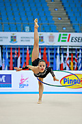Assymova Aliya during qualifying at hoop in Pesaro World Cup 10 April 2015.<br /> Aliya was born 16 December 1997 in Astana, Kazakhstan. She is a Kazakhstani individual rhythmic gymnast.