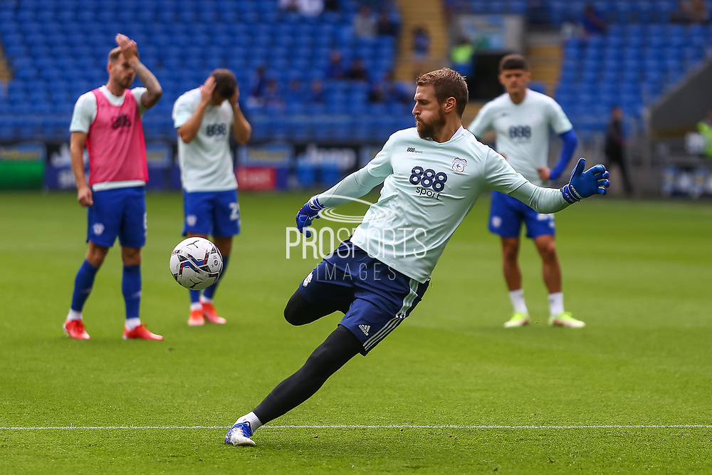 Cardiff City goalkeeper Alex Smithies (25) during the pre-match warm-up at the EFL Sky Bet Championship match between Cardiff City and Bristol City at the Cardiff City Stadium, Cardiff, Wales on 28 August 2021.