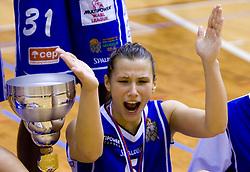 Iva Ciglar of Celje celebrates at finals match of Slovenian 1st Women league between KK Hit Kranjska Gora and ZKK Merkur Celje, on May 14, 2009, in Arena Vitranc, Kranjska Gora, Slovenia. Merkur Celje won the third time and became Slovenian National Champion. (Photo by Vid Ponikvar / Sportida)