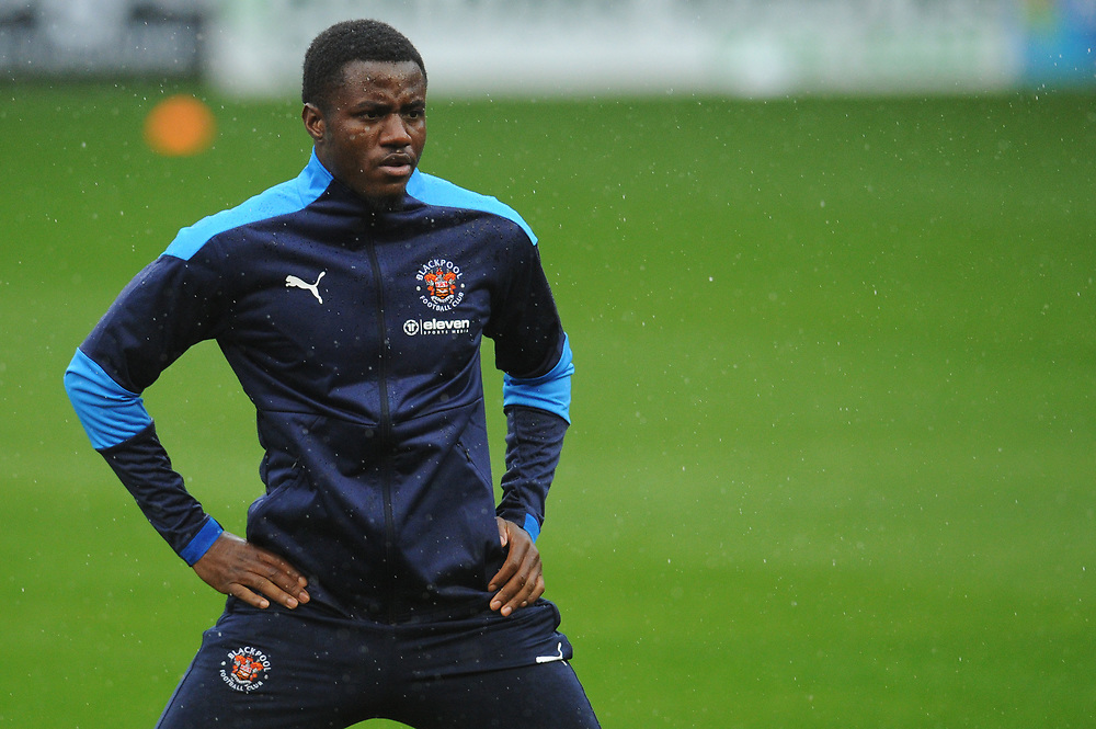 Blackpool's Beryly Lubala during the pre-match warm-up <br /> <br /> Photographer Kevin Barnes/CameraSport<br /> <br /> The EFL Sky Bet League One - Blackpool v Lincoln City - Saturday 3rd October 2020 - Bloomfield Road - Blackpool<br /> <br /> World Copyright © 2020 CameraSport. All rights reserved. 43 Linden Ave. Countesthorpe. Leicester. England. LE8 5PG - Tel: +44 (0) 116 277 4147 - admin@camerasport.com - www.camerasport.com