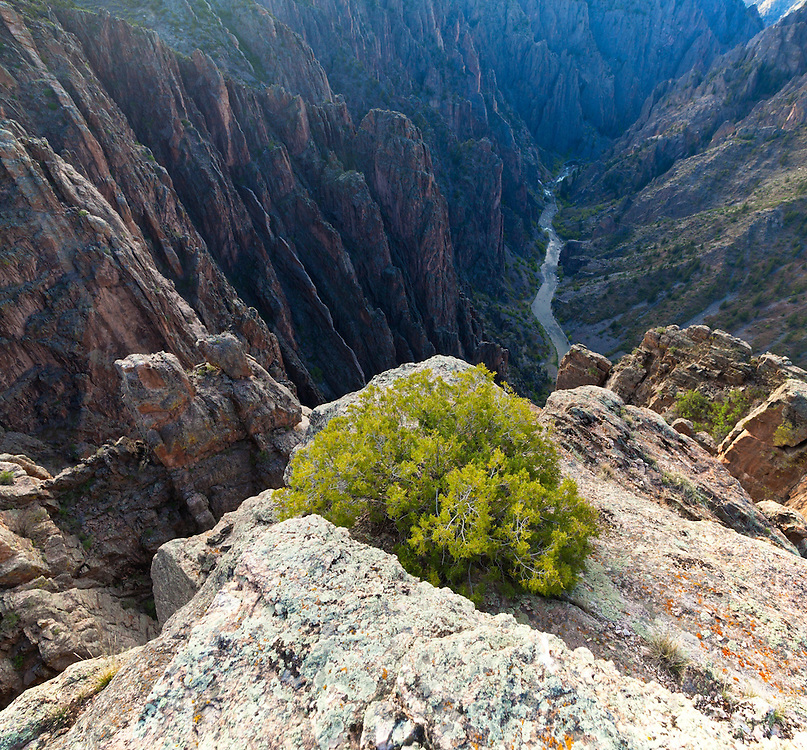Precipitous view of the Gunnison River from Island Peaks, Black Canyon of the Gunnison National Park, Colorado.