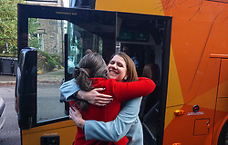 © Licensed to London News Pictures. 9/12/2019. Sheffield , UK. Jo Swinson, Leader of the Liberal Democrats , embraces with Liberal Democrat prospective candidate for Sheffield Hallam Laura Gordon during election campaigning, as she will discuss the party's £50 billion Regional Rebalancing Fund  investment in regions outside of London and the South East. Photo credit: Ioannis Alexopoulos /LNP