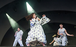 Lorde performs on stage on day 2 of All Points East festival in Victoria Park in London, UK. Picture date: Saturday 26 May 2018. Photo credit: Katja Ogrin/ EMPICS Entertainment.