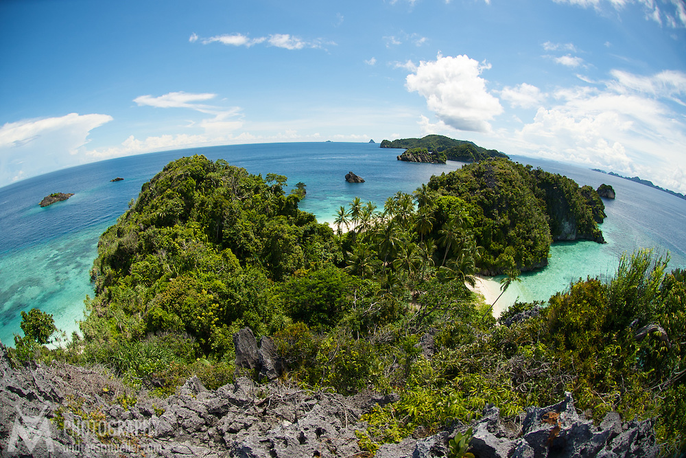 View from a hill around a beautiful lagoon of Misool area in West-Papua.