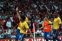 Photo: Tony Oudot.<br /> England v Brazil. International Friendly. 01/06/2007.<br /> Diego of Brazil celebrates his last minute equalizer