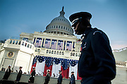 U.S. military rehearse at the Capitol hours prior to the start of the 56th Presidential Inauguration ceremony for Barack Obama as the 44th President of the United States in Washington, DC, USA 20 January 2009.  Obama defeated Republican candidate John McCain on Election Day 04 November 2008 to become the next U.S. President.