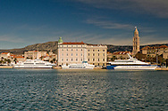 Catamarans in front of the harbour building and Diocletian's Palace, Split, Croatia