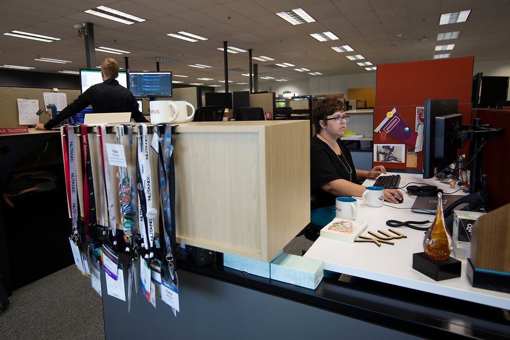 Opus Agency is a winner in The Oregonian/OregonLive's 2018 Top Workplaces competition. This is Katie McIntyre, Manager, Technical Producer, in the brand events and marketing agency's Beaverton location at 9000 S.W. Nimbus Avenue. Photo by Randy L. Rasmussen