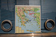 A map illustrating the possible paths for migrants and refugees to continue their journey into western Europe, displayed at the enterance to a refugee camp near Mytilini, Lesvos island, Greece.