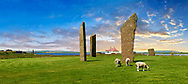 Neolithic Standing Stones of Stenness, Isle of Orkney, Scotland .<br /> <br /> Visit our SCOTLAND HISTORIC PLACXES PHOTO COLLECTIONS for more photos to download or buy as wall art prints https://funkystock.photoshelter.com/gallery-collection/Images-of-Scotland-Scotish-Historic-Places-Pictures-Photos/C0000eJg00xiv_iQ<br /> '<br /> Visit our PREHISTORIC PLACES PHOTO COLLECTIONS for more  photos to download or buy as prints https://funkystock.photoshelter.com/gallery-collection/Prehistoric-Neolithic-Sites-Art-Artefacts-Pictures-Photos/C0000tfxw63zrUT4