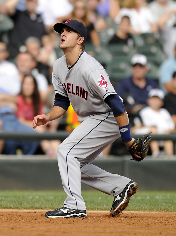 CHICAGO - SEPTEMBER 10:  Lonnie Chisenhall #27 of the Cleveland Indians fields against the Chicago White Sox on September 10, 2011 at U.S. Cellular Field in Chicago, Illinois.  The White Sox defeated the Indians 7-3.  (Photo by Ron Vesely)   Subject: Lonnie Chisenhall