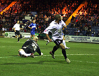 Photo: Mark Stephenson/Sportsbeat Images.<br /> Stockport County v Hereford United. Coca Cola League 2. 17/11/2007.Hereford's Lional Ainsworth goes around Stockport's keeper Conrad Logan and scors his 3ed goal