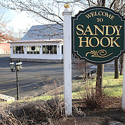 The Sandy Hook sign in the town after yesterday's shootings at Sandy Hook Elementary School, Newtown, Connecticut, USA. 15th December 2012. Photo Tim Clayton